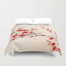 Oriental style painting, plum blossom in spring Duvet Cover