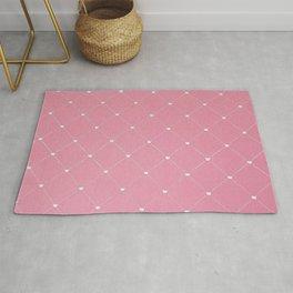 Modern coral pink white geometric pattern Rug