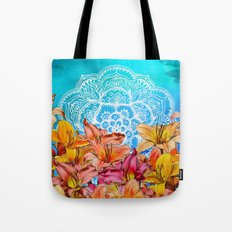 Orange Lilies & White Mandala on Blue Tote Bag