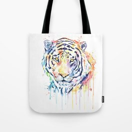 Tiger - Rainbow Tiger - Colorful Watercolor Painting Tote Bag