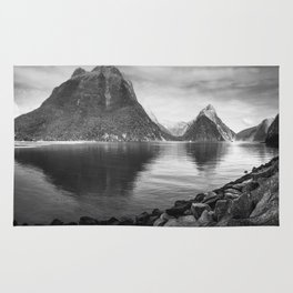 Milford Sound Panorama in black and white Rug