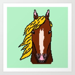 Horse with yellow hair Art Print