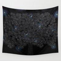 klimt Wall Tapestries featuring Klimt Tree - Night Sky by *NaBe*