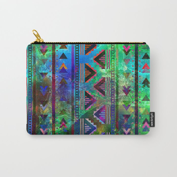 blue green pattern triangles Carry-All Pouch