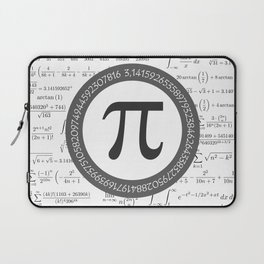 The Pi symbol mathematical constant irrational number, greek letter, and many formulas background Laptop Sleeve