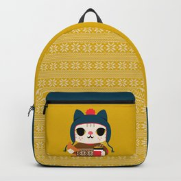 Holiday - Cat in a Sweater / Mustard Yellow Backpack