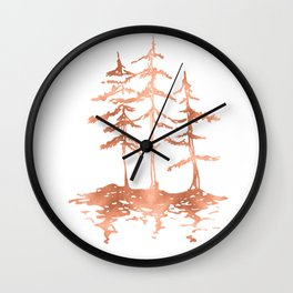 Three Sisters Trees Rose Gold on White Wall Clock