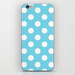 Sky blue (Crayola) - heavenly - White Polka Dots - Pois Pattern iPhone Skin