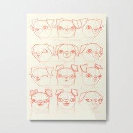 Pug study, red Metal Print