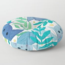 Cats and branches - blue and green Floor Pillow