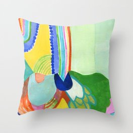 Abstract Rainbow Sprout Landscape Throw Pillow