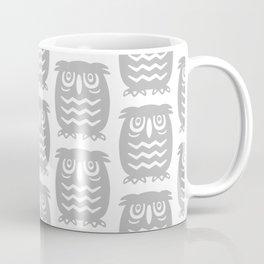 Mid Century Owl Pattern Grey Coffee Mug