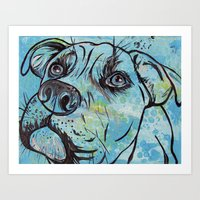 pit bull Art Prints featuring Blue Pit Bull Dog by WOOF Factory