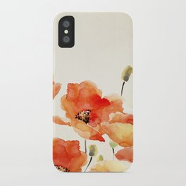 Poppy Flower Meadow- Floral Summer lllustration iPhone Case