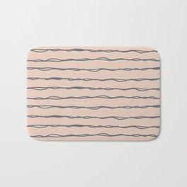 Minimalist Stripes Navy Gray on Blush Pink Bath Mat