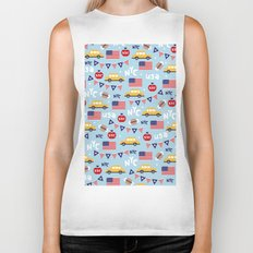 Made in the USA New York City icons pattern Biker Tank