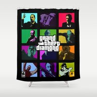 grand theft auto Shower Curtains featuring Grand Theft Diamond Snatchers by Ant Atomic