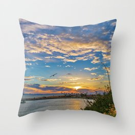 Daisys and Seagull at Sunset Throw Pillow