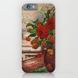 White and Red Dahlia Flowers in Vase  Herman Bieling iPhone Case