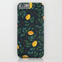 Vintage yellow lemon tree hand drawn illustration pattern iPhone Case