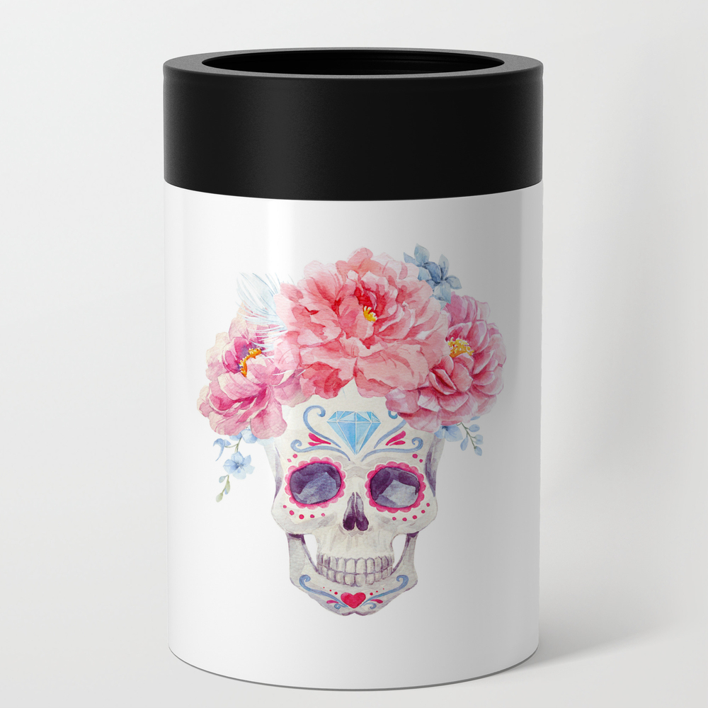 Flower Crown Mexican Calavera Decorated Traditional Flower Crown Floral Kingdom Can Cooler by floralkingdom