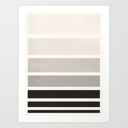 Grey Minimalist Watercolor Mid Century Staggered Stripes Rothko Color Block Geometric Art Art Print