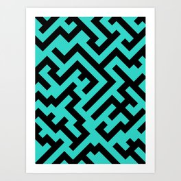 Black and Turquoise Diagonal Labyrinth Art Print