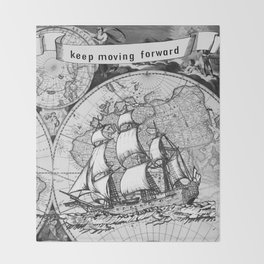ship on a background map . black and white . keep moving forward Throw Blanket