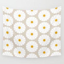 Minimal Botanical Pattern - Daisies Wall Tapestry