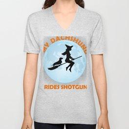 My Dachshund Rides Shotgun Halloween Witch  Unisex V-Neck