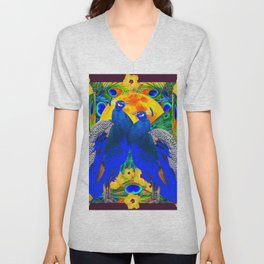 BURGUNDY  TROPICAL YELLOW HIBISCUS & BLUE PEACOCKS Unisex V-Neck