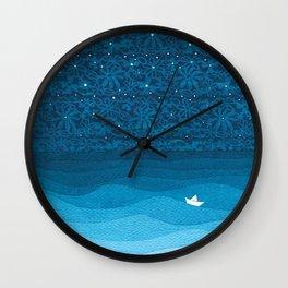 Ornament sky, nautical blue Wall Clock