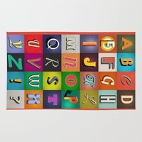 alphabet Area & Throw Rugs featuring Alphabet by rob art | simple