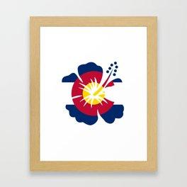 Colorado Hibiscus Flag Framed Art Print