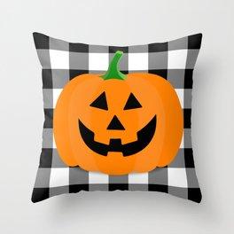Halloween Jack O'Lantern Buffalo Check Throw Pillow