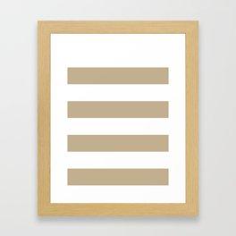 Wide Horizontal Stripes - White and Khaki Brown Framed Art Print