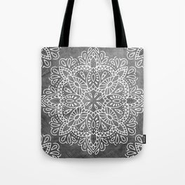 Mandala Vintage White on Ocean Fog Gray Tote Bag