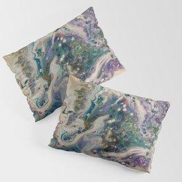 Peacock Flock - Abstract Acrylic Art by Fluid Nature Pillow Sham