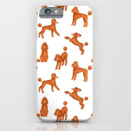 Red Poodles Pattern iPhone Case