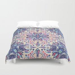 Protea Pattern in Blue, Cream & Coral Duvet Cover
