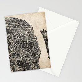 lisbon map ink lines Stationery Cards