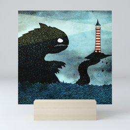 Lighthouse & Sea Monster Mini Art Print