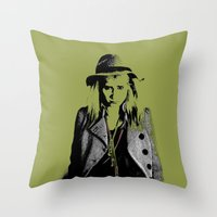 grumpy Throw Pillows featuring Grumpy  by OhShizz