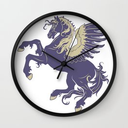 Blue Rearing Pegasus Wall Clock