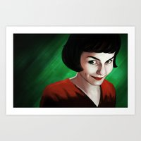 amelie Art Prints featuring Amelie by Jon Cain