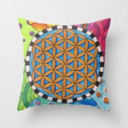 Flower of Life - Spring Days Throw Pillow