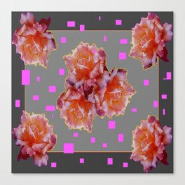 Grey & Violet Design & Old Rose flowers Pattern Art Canvas Print