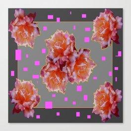 Grey & Violet Design & Old Rose flowers Pattern Art Canvas Print