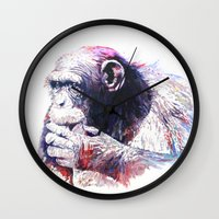 monkey island Wall Clocks featuring Monkey by Cristian Blanxer