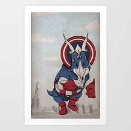 Captain Ameritops - Superhero Dinosaurs Series Art Print